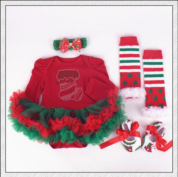Christmas Baby tutu Dress - 4 Pcs Set for Baby Girls - shopfils.com