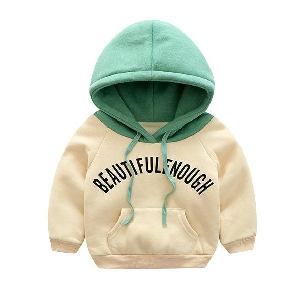 Plush Hoodie Sweat Top for Boys Cream - shopfils.com