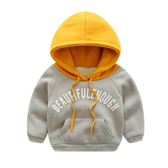 Plush Hoodie Sweat Top for Boys Grey - shopfils.com