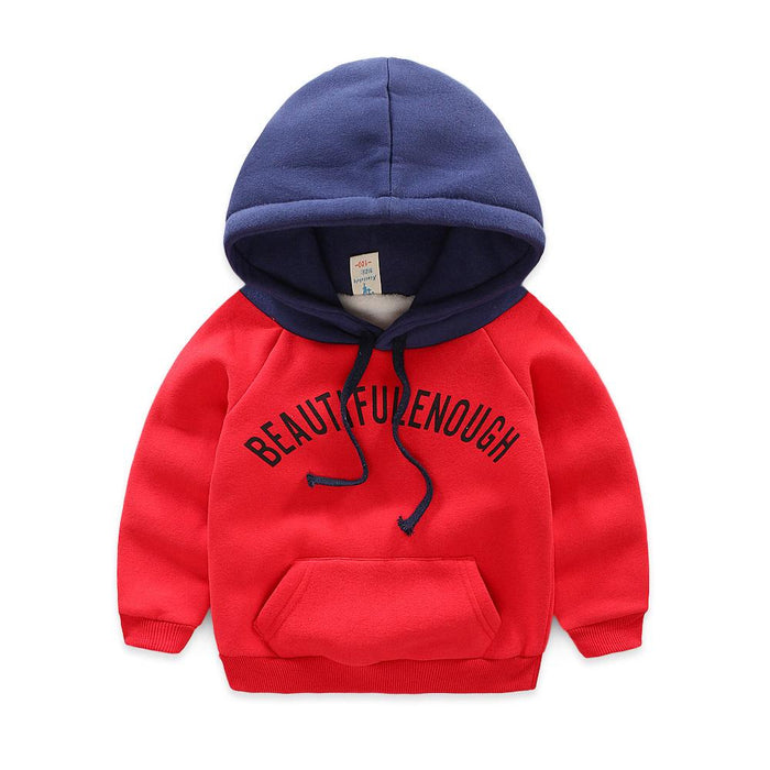 Plush Hoodie Sweat Top for Boys Red - shopfils.com