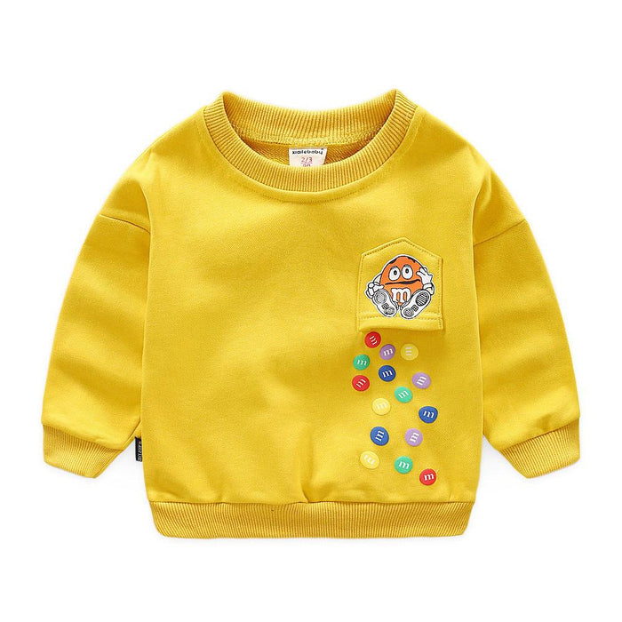 Falling Candy Winter Pullover Sweat Top for Boys Yellow - shopfils.com