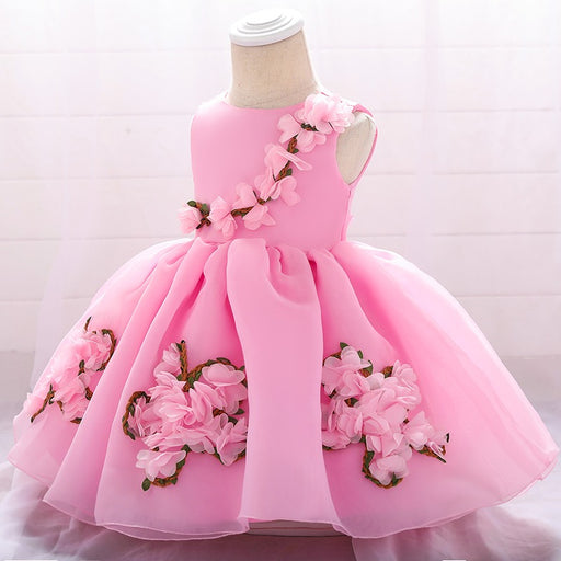 Princess Pink Flower Dress for Little Girls - shopfils.com