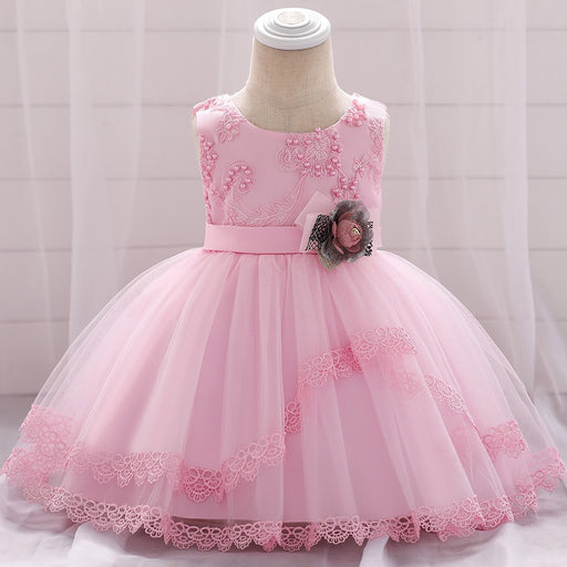 Pink Flower Pearl Lace Knee Length Party Dress For Girls -shopfils.com