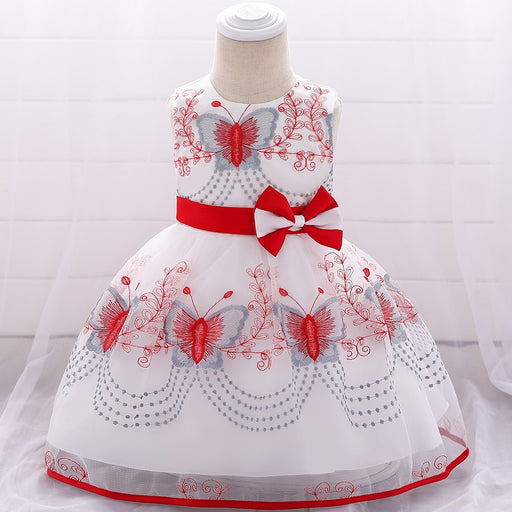Cute White and Red Princess Dress for Little Girls - shopfils.com