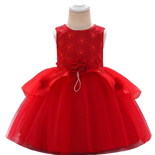 Elegant Red Applique Knee Length Party Dress For Girls -shopfils.com