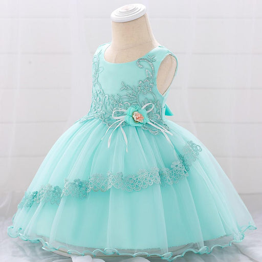 Lace Embroidery Knee Length Party Dress For Girls - shopfils.com