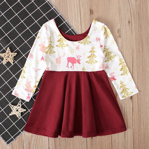 Christmas white and red tree & reindeer printed knee length dress for little girls