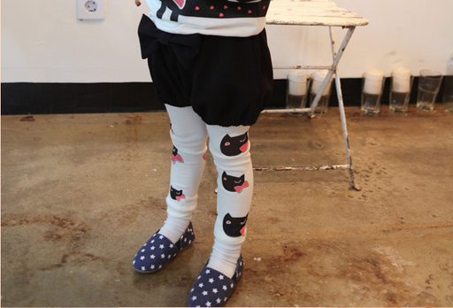 Kitty Print Stretchable Leggings for Girls - shopfils.com