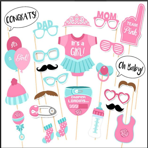 Baby Shower Photo Booth Props For Baby Girls - shopfils.com