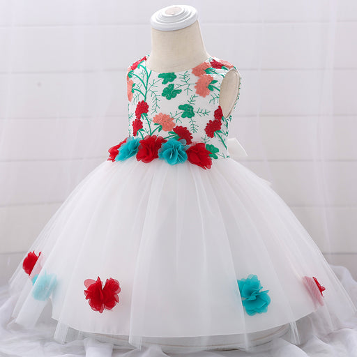Multi color Flower Princess Dress for Little Girls - shopfils.com
