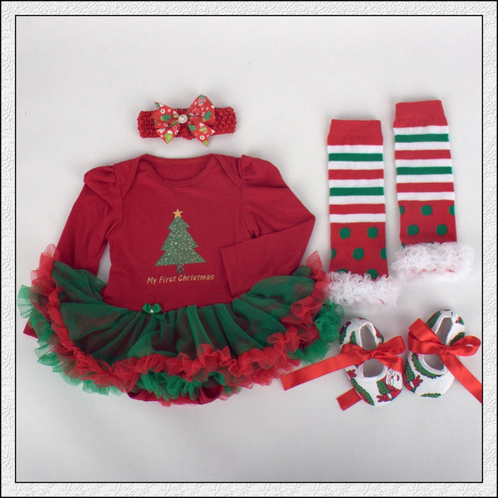 My 1st Christmas Baby tutu Dress - 4 Pcs Set Baby Girls - shopfils.com