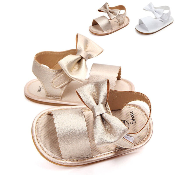 Cute Newborn Infant Baby Girls Bowknot Princess Shoes PU Non-slip Rubber Shoes 0-18 M - shopfils.com