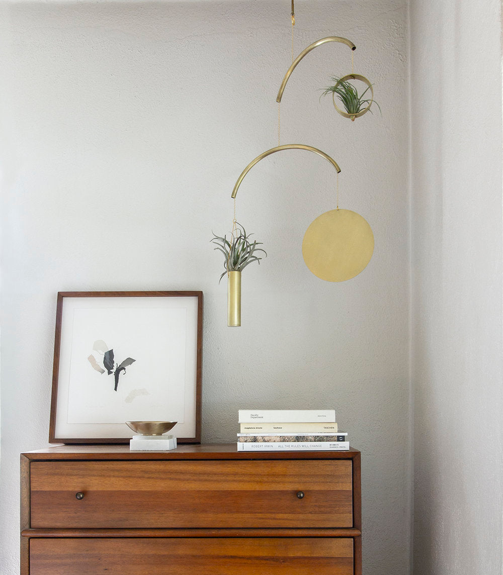 A unique and stunning mobile from Austin's own, Circle & Line, designed by Corie Humble. This style is made to hold air plants or any other plant of your choice, for the perfect addition to any room