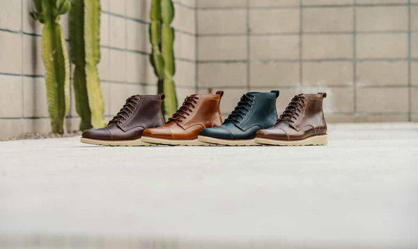 HELM Lou Boots available in brown, teak, black, and natural