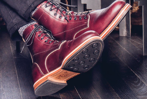 HELM limited edition burgundy boot.