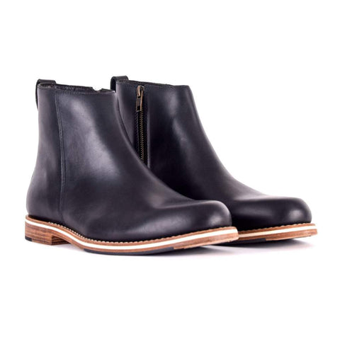 mens black boots leather sole