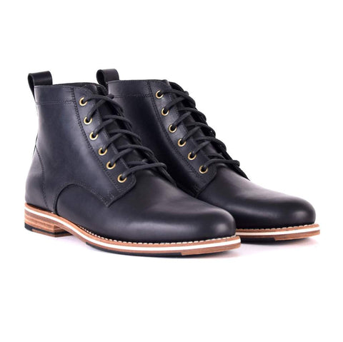 mens black round toe leather boots