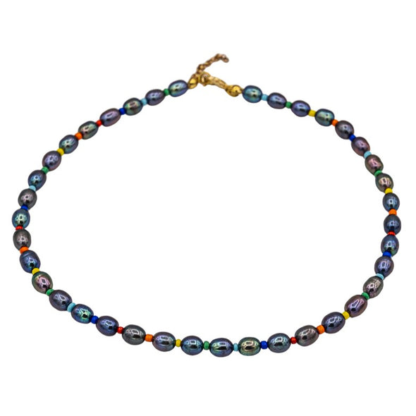 Rainbow Iridescent Black Choker