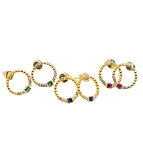 Circle Studs with Color Stone and CZ Stones