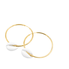 Gold Hoops with White Shells