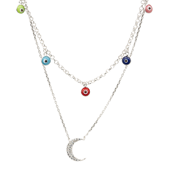 Double Layered Evil Eye and Moon Necklace