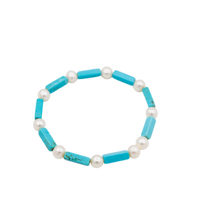 Turquoise Stones and Pearls Bracelet