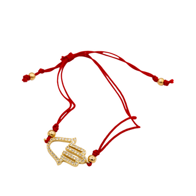 Adjustable Red Hamsa Bracelet