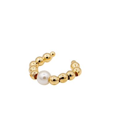 Beaded Gold and Pearl Ear Cuff