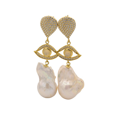 Pearl Evil Eye Drop Earrings