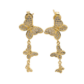 Triple Butterfly Drop Earrings