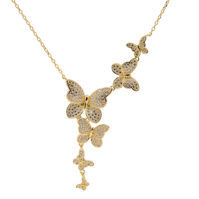 Multi Butterfly Drop Necklace