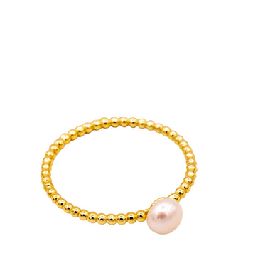 Dainty Gold and Pearl Ring