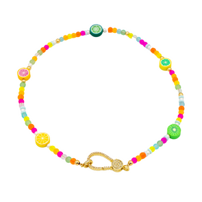 Tutti Fruity Choker with Extra Large CZ Clasp