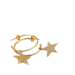 Large Gold Hoops with Dangling Stars