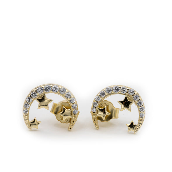 CZ Moon and Stars Stud Earrings