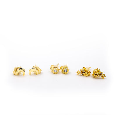 Mini Celestial Earring 3 Pairs Stud Set