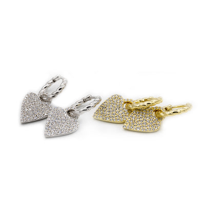 CZ Studded Rope Heart Huggie Earrings