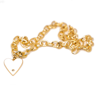 18k Gold Filled Enamel Heart Chain Necklace