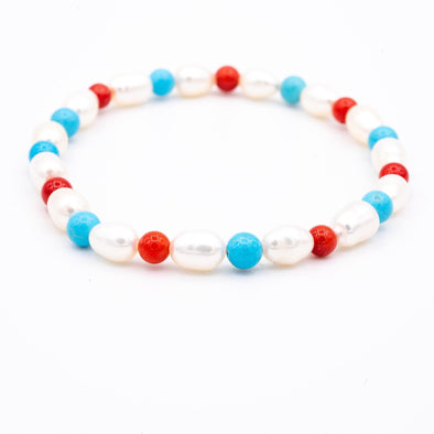 The Blue and Red Pearl Bracelet - Hannah B by Hannah Bender
