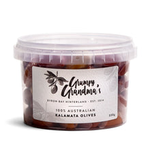Load image into Gallery viewer, Olives - Kalamata, Grumpy Grandma's, 100% Australian, 330g