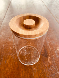 Glass Storage Jar - 1L, Wooden Lid (GSW)