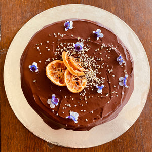 Rider Orange Almond Cake with Choc Ganache - Dairy Free