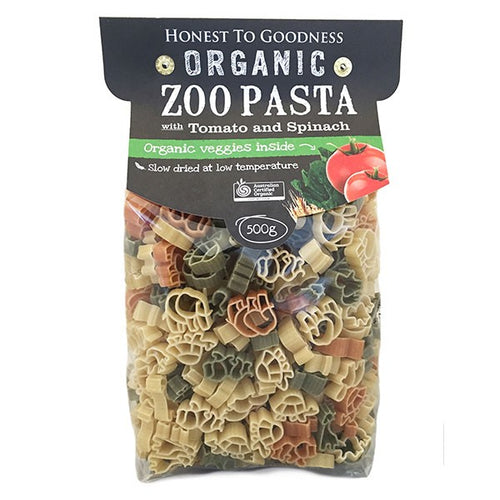 Pasta - Organic Zoo Shapes with Tomato & Spinach, Bulk
