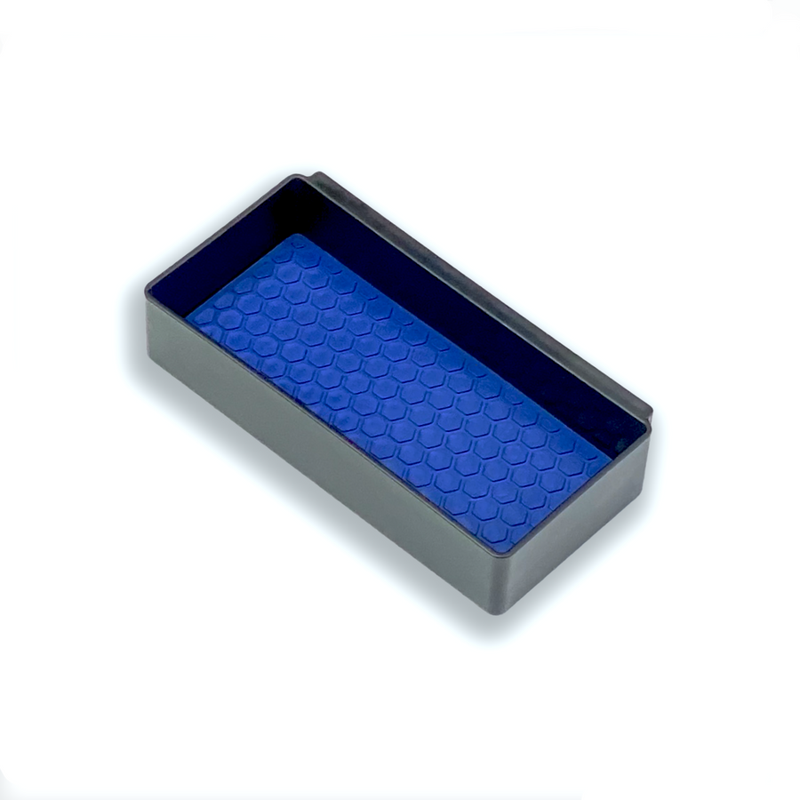 Center Console Organizer by MX Automotive, custom Oval Blue mat insert for Salient Organizer Boxes.
