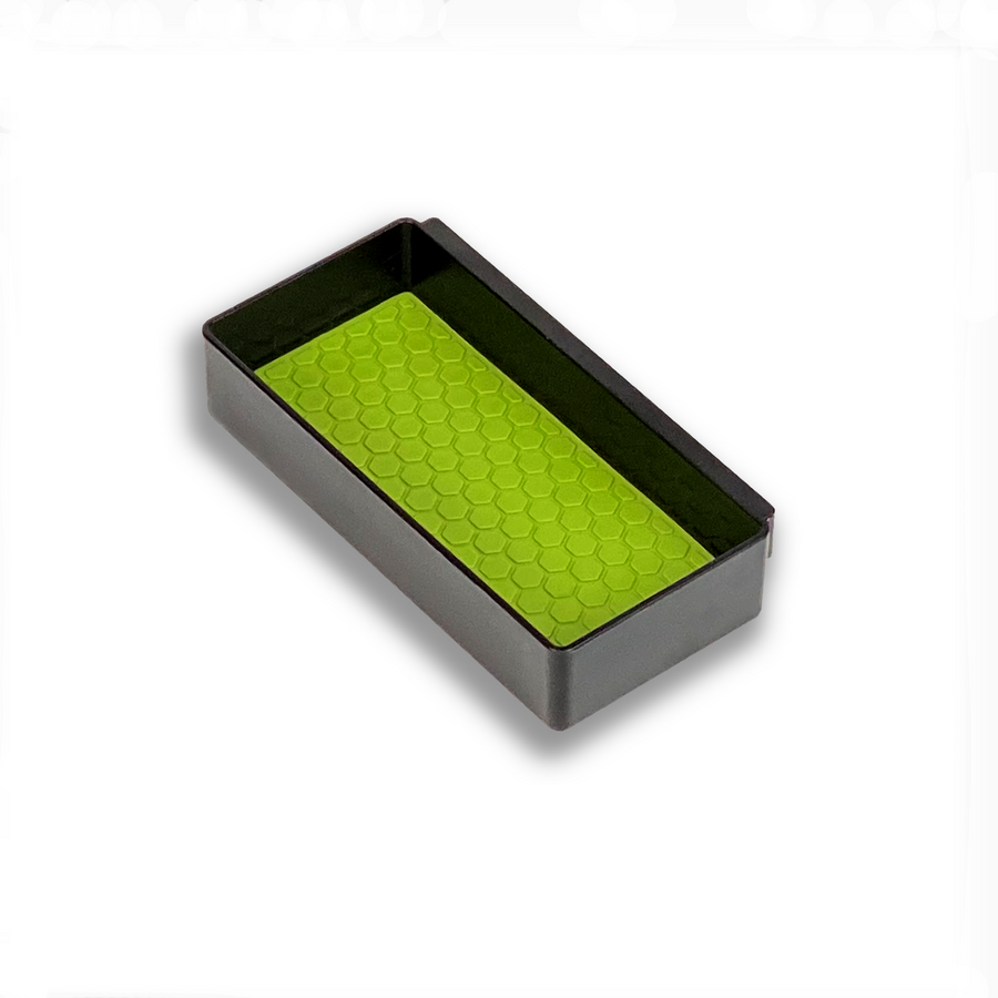 Center Console Organizer by MX Automotive, custom COVID-19 Green mat insert for Salient Organizer Boxes.