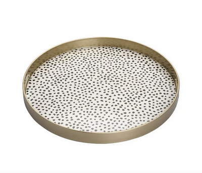 Multicolor Round Dotted Serving Tray
