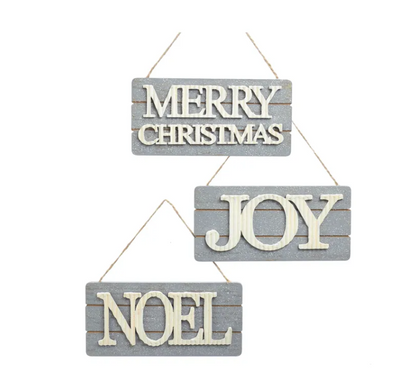 Wooden Gray Sign Ornament