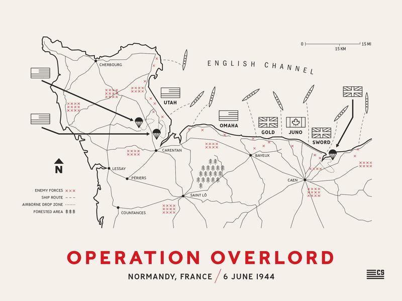 operation overlord battle map poster print framed