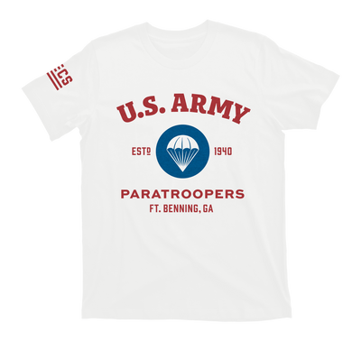 airborne us army paratroopers t-shirt - white - front
