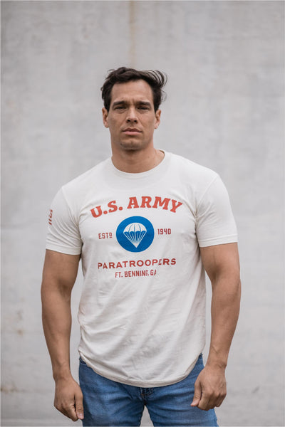 us army airborne t shirt - white front
